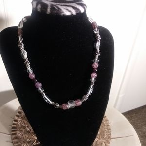 Purple & Silver glass beaded necklace, adjustable
